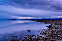 South Towards Denman Island (Roshine Photography) Tags: slowshutter eveninglight comox pointhomes salishsea environmental reflection sunset winter landscape cooltones calmwater lowtide rocks britishcolumbia canada ca