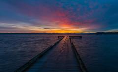 Stepping into the Day (sunrisesoup) Tags: sunrise seattle madronapark dock bellevueskyline dawn lakewashington cascademountains wa usa