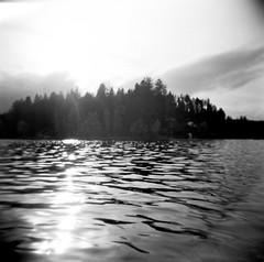 10.2016 LLWM Holga SFX BW Kayaking E0001 (Jcicely) Tags: 2016 bwfilm clouds holga kayaking loonlake loonlakewithmarvin october reflection sky sun trees water