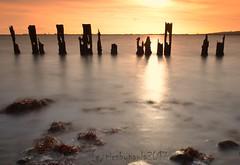 hayling billy (pics by paula) Tags: hayling island long exposure nd10 nikon silhouette sun sunset clouds water light sea sky waves blur seaweed picsbypaula horizon d7000