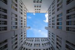 Strong lines (Elbmaedchen) Tags: patio innenhof finanzbehördehhmitte bugenhagenstrase hamburg durchblick himmel architektur steinstrase