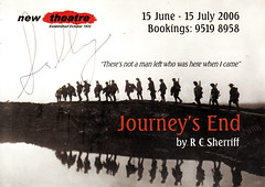 Journey's End by R. C. Sherriff, New Theatre, 15 June - 15 July 2006 (pellethepoet) Tags: silhouette typography design graphicdesign sydney australia raleigh ephemera newsouthwales newtown firstworldwar stanhope journeysend lobbycard rcsherriff frankhurley