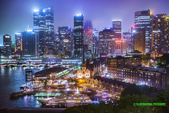 Friday Night in Our City of Sydney (TIA International Photography) Tags: city summer urban fog ferry skyline night port marina buildings landscape boat office dock haze downtown ship view skyscrapers yacht district central sydney january foggy australia vessel circularquay neighborhood warehouse business