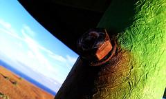 Nut & Texture (Hanzlers Warped Visions) Tags: blue abstract green texture beach suffolk cone highcontrast sunny bluesky bolt stringy abstraction nut groyne eastanglia groynes jauntyangle felixstowebeach