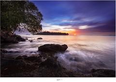 Sunset at Carocok Beach, Painan, West Sumatera, Indonesia. (Ian Santosa) Tags: sunset west beach rock indonesia big nikon slow shutter cpl stopper sumatera d610 painan