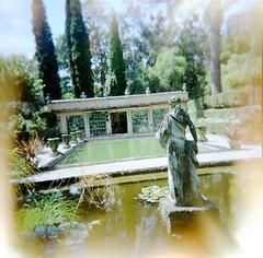 Menton (erisuch1) Tags: france gardens holga pond romantic menton frenchriviera frenchgarden exoticgarden femalestatue jardindelamadone