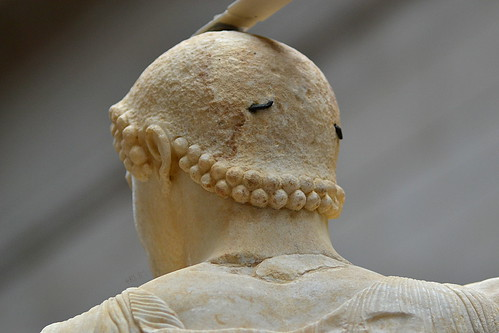 Detail of the back of the head of the Motya charioteer, June 2012