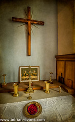 Holy Chalice (Adrian Evans Photography) Tags: uk cup church wales architecture painting religious wooden catholic cross god interior jerusalem religion jesus plate chapel medieval christian crucifix british brass apostles jewel vessels chalice goblet lastsupper 13thcentury northwales holychalice jewlledcross