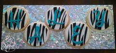 Haley's zebra-stripe cookies (RebeccaSutterby) Tags: birthday black cookies teal name zebrastripe