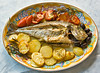 Fresh fish cooked in owen (cdrinan) Tags: food fish color kitchen dinner tomato table cuisine restaurant italian dish eating decoration olive fresh gourmet potato meal garlic seafood presentation owen cooked aromatic oval spezie orata tipical