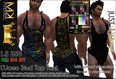 <MK> L'UOMO STUD TOP TANK (Mat Kungler Atelier) Tags: life texture jock leather animal sign shirt neck print boot hoodie sweater shoes tank pants mask underwear mesh lace top coat avatar contest tshirt wear clothes collection mat trench jeans shirts jacket gloves thong short mens second denim zodiac plaid hud brief month acessories couture chaps mk tanga haute luomo atelier sleeves hoddie swinwear toptank of mguy kungler suitunder