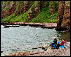 Rod fishing at Auchmithie (ronramstew) Tags: sea scotland fishing fishermen angus north cliffs rod arbroath auchmithie