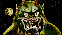 Wallpaper-size detail of reconstructed and colorized Moon Monster poster