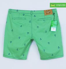 กางเกงสามส่วนแฟชั่นผู้ชายอ้วนไซส์ใหญ่สีเขียวลายสมอ หลัง