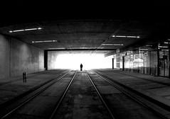 Vanguard (CoolMcFlash) Tags: street streetphotography bnw bw blackandwhite blackwhite tunnel silhouette vienna canon eos 60d light rails strase sw schwarzweis person kontur contrast kontrast licht schienen fotografie photography alone alleine sigma 10mm fisheye