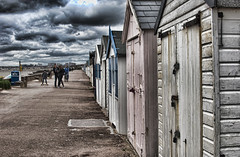 Storm Clouds Gathering (HDR) (Cozy61) Tags: bay board d2x drysuit essex kite nikon river sport street surfing thames thorpe westsuit huts beach monochrome hdr