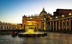 St Peter Square, Rome (elucentini) Tags: rome roma italy italia notturno bynight lazio basilica church vatican vaticano