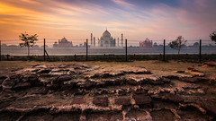 Taj Borders  - Agra, India (Kartik Kumar S) Tags: tajmahal taj agra uttarpradesh mehtab bagh sunrise clouds colors borders fences canon 600d tokina 1116mm fence architecture ruins remains