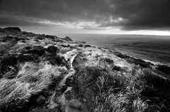 Wet Moorland Track (andy_AHG) Tags: landscape photography scenic beautiful landscapes british countryside outdoors rural northern england pennines moors rocks peak district west nab meltham moor wessenden head valley sunrise spring outdoor rock formation saddleworth monochrome blackwhite