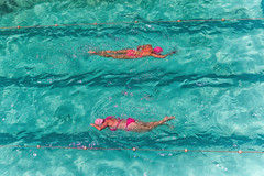 Pinkchronized Swimming (rosiebondi) Tags: swim swimming pool ocean water summer colour color australia sydney icebergs sport street
