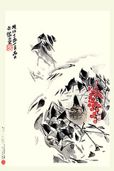 Heavenly bamboo and winter wren (Japanese Flower and Bird Art) Tags: flower heavenly bamboo nandina domestica berberidaceae bird winter wren troglodytes troglodytidae beisen kubota nihonga woodblock picture book japan japanese art readercollection