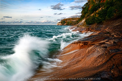 Breaking Fall - Gerlach Point (Pictured Rocks National Lakeshore) (Aaron C. Jors) Tags: picturedrocksnationallakeshore nationallakeshores lakesuperior nationalparks waves shorelines lakesuperiorshoreline sunsets blues michigan uppermichigan mi picturedrocks picturedrocksshoreline algercounty minersbeach gerlachpoint fall autumn