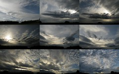 four hours of sky (rospix) Tags: uk sky cloud tree nature june collage wales clouds countryside hills 2014 rospix