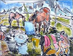 Elvis and Ruby at Dinner (Kerry Niemann) Tags: horses watercolor inkdrawing apachejunction