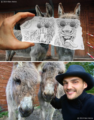 Behind the Scene - Pencil Vs Camera 12 (Ben Heine) Tags: hello silly art smile animals project paper print landscape fun photography funny couple belgium drawing farm donkeys dumb secret creative progress evolution dessin lovers howto laugh stupid prints series behind makingof tutorial behindthescene incognito nes benheine braives pencilvscamera ts