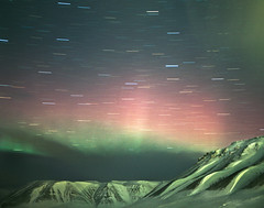 Untitled (Aurora Borealis, Longyearbyen, Svalbard, 2011) (lot21gallery) Tags: longexposure film ice night analog landscape fineart surreal svalbard startrail reubenwu lot21gallery
