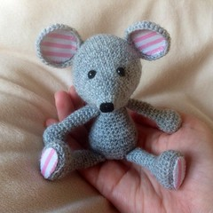 Matilda Mouse - hand crocheted (bycreativehands) Tags: pink cute shop shopping mouse grey design pretty pattern handmade stripes crafts tail crochet craft curly buy amigurumi crocheted sell striped stripy amigarumi bycreativehands foorm