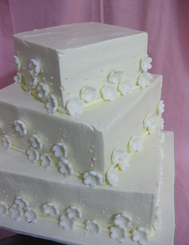 Buttercream Square Wedding Cake with Fondant Punched Flowers