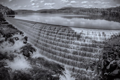 Fresh Air (SunnyDazzled) Tags: trees bw lake newyork mountains reflection nature clouds river landscape waterfall scenery day dam wide sunny reservoir croton spillway