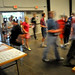 Ticket holders rush into Maker Faire at the Exposition Center at the NC State Fairgrounds.