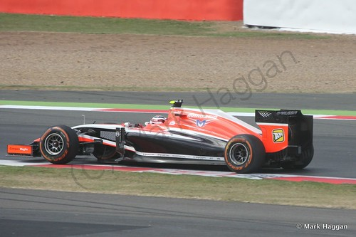 Max Chilton in his Marussia during Free Practice 1 at the 2014 British Grand Prix