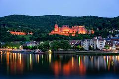 Heidelberg Castle with River Neckar {explored} (Holger Neuert) Tags: colors night river nightshot clear bluehour heidelberg schloss neckar lichter farben nachtaufnahme citylight heidelbergerschloss nachtaufnahmen flus sonyalpha7 sonya7 sonnarfe2835za