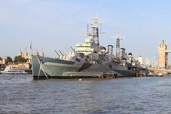 HMS Belfast on The River Thames (as098_uk) Tags: bridge england london water thames towerbridge buildings river boat ship unitedkingdom belfast hmsbelfast canarywharf riverthames waterway warship thamespath hms capitalcity