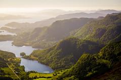 Ulriken - Floyen hike. Bergen, Norway (Paulius Bruzdeilynas) Tags: city trees mountain mountains water norway rock stone norge haze sheep hiking hike norwegian bergen