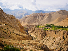 Green Ghyakar (whitworth images) Tags: nepal green nature beauty clouds contrast rural landscape outdoors asia village scenic nobody nopeople scene canyon cliffs hills fields gorge mustang agriculture himalaya arid samar gurung chele restrictedarea uppermustang annapurnaconservationarea ghyakar