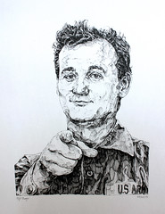 Bill Murray commission (Alfie Dwyer) Tags: portrait white black face lines pen pencil mouth hair nose eyes hand drawing finger fine ears jacket draw pointing commission biro linear liner fineliner