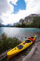 Banff-214 (kayteeknee) Tags: park lake canada mountains nature landscape rockies outdoors island kayak jasper spirit canoe national alberta boating banff rockymountains maligne parkscanada canadianrockies lakemaligne