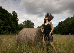 farm (Blinkofanaye) Tags: sky woman cloud overgrown girl field hair virginia dress round hay bale rotoballe
