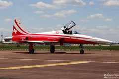 Swiss Air Force --- Patrouille Suisse --- Northrop F-5E Tiger II --- J-3090 (Drinu C) Tags: plane aircraft military sony tiger f5 dsc ffd fairford riat northrop patrouillesuisse f5e swissairforce theroyalinternationalairtattoo egva j3090 hx100v adrianciliaphotography