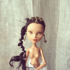 Meet Mutemwiya. The needle is just to temporarily hold the braid in place. (Seba-djai) Tags: monster de high doll dolls princess nile egyptian cleo repaint faceup