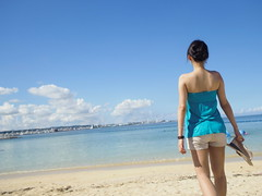 my summer (imnOthere0) Tags: blue vacation sky cloud beach girl japan sunsetbeach okinawa  americanvillage