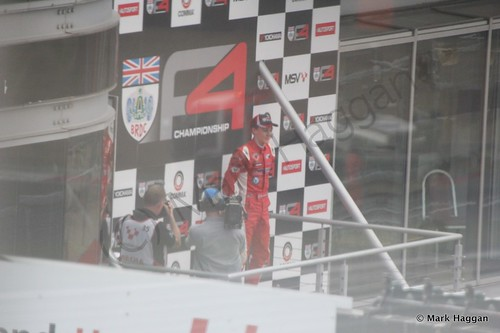 The podium for the second BRDC F4 race at Brands Hatch in August 2014