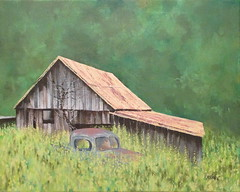 Elk Valley Barn (Rvoelk) Tags: landscapes woods barns farms oilpaintings russellvoelker