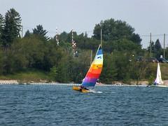 Rainbow boat (benlarhome) Tags: canada calgary boat barcos alberta bateau schiff glenmorereservoir glenmore glenmorepark