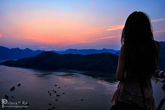 Enjoying the sunset  (Christian Wang | ) Tags: ocean china travel sunset sea sky mountain seascape nature girl landscape women scenery view natural  fujian               xiapu  instagramapp uploaded:by=instagram