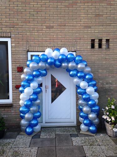 Ballonboog 5m Blauw, Zilver, Wit